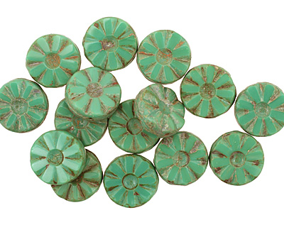 Czech Glass Emerald Picasso Flower Window Coin 12mm