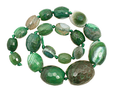 Green Line Agate Faceted Rice Graduated 12-30x10-25mm
