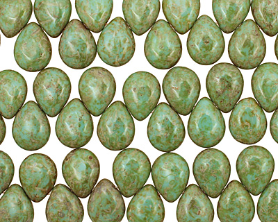 Czech Glass Opaque Turquoise Picasso Teardrop 12x16mm
