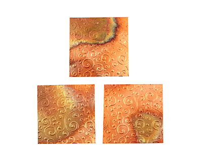 Lillypilly Flamed Scrolling Vine Embossed Patina Copper Sheet 3