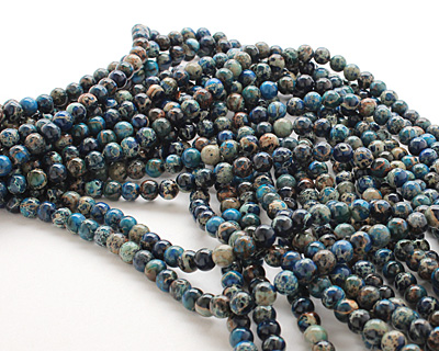 Midnight Blue Impression Jasper Round 6mm