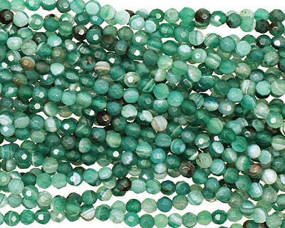 Green Line Agate Faceted Round 4mm