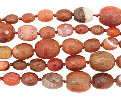 Rustic Orange Line Agate Faceted Rice Graduated 13-30x12-26mm