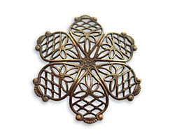 Vintaj Natural Brass Violet Petal Filigree 35mm