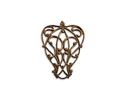 Vintaj Natural Brass Lyrical Filigree Connector 23x12mm