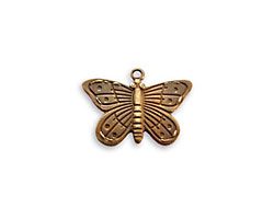 Vintaj Natural Brass Etched Butterfly Charm 20x14mm