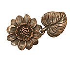 Green Girl Shibuichi Large Sunflower Clasp 45x25mm