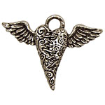 Green Girl Pewter Flying Heart Pendant 54x40mm
