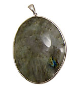 Labradorite Freeform Pendant in Sterling Silver 52-65x72-84mm