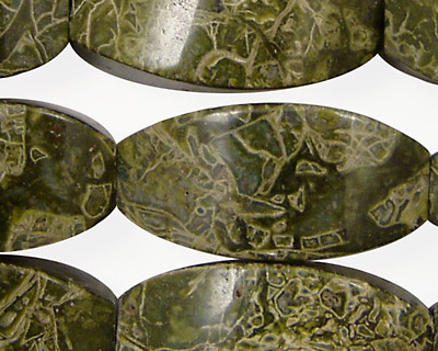 African Green Jasper 4-Sided Rice 30x15mm