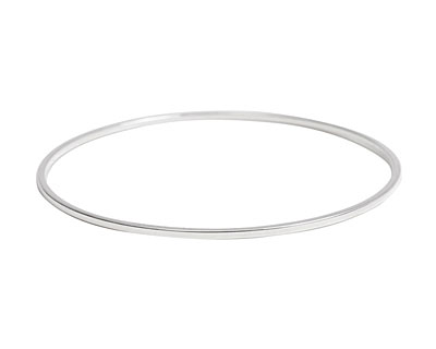Nunn Design Sterling Silver (plated) Small Flat Bangle Bracelet 70mm