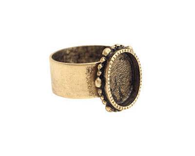 Nunn Design Antique Gold (plated) Small Ornate Oval Bezel Adj Ring 15x18mm
