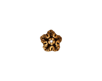 TierraCast Antique Gold (plated) Oak Leaf Bead Cap 4x10mm