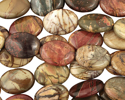 Red Creek Jasper Flat Oval 25x18mm