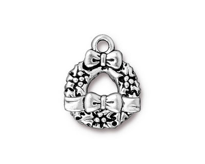 TierraCast Antique Silver (plated) Wreath & Bow Toggle Clasp 16x20mm, 16x4mm bar
