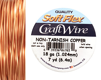 Soft Flex Non-Tarnish Copper Craft Wire 18 gauge, 7 yards