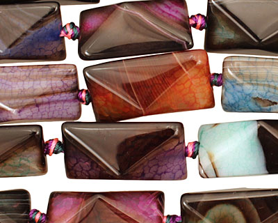 Rainbow Snakeskin Agate Faceted Pillow 25x16mm