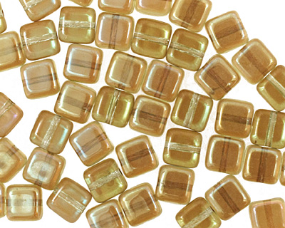 Czech Glass Chrysolite Celsian Square 6mm