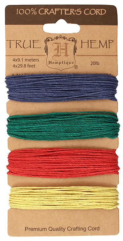 Shades of Topaz Hemp Twine 20 lb, 29.8 ft x 4 colors