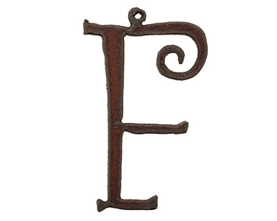 The Lipstick Ranch Rusted Iron Letter F Pendant 32x50mm