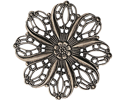 Stampt Antique Pewter (plated) Crocus Filigree 36mm