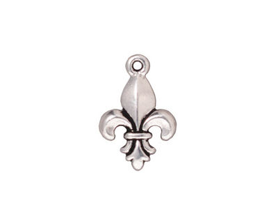TierraCast Antique Silver (plated) Large Fleur de Lis Charm 12x18mm