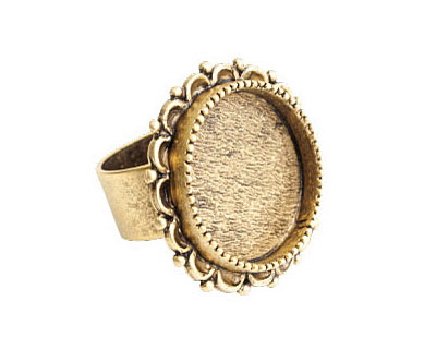 Nunn Design Antique Gold (plated) Large Ornate Circle Bezel Adjustable Ring 28mm