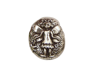 Green Girl Pewter Fairy Pebble 16x21mm