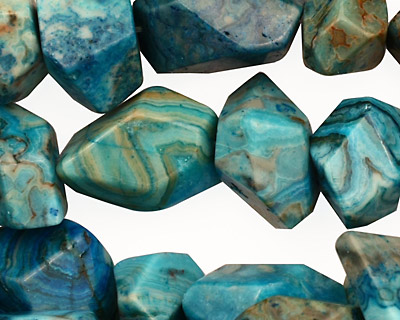Larimar Blue Crazy Lace Faceted Nugget 8-20x11-17mm