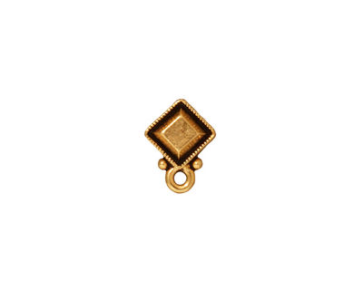 TierraCast Antique Gold (plated) Faceted Diamond Ear Post 10x12mm