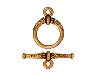 TierraCast Antique Gold (plated) Heirloom Toggle Clasp 20x15, 24mm Bar
