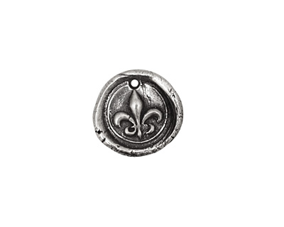 Rustic Charms Sterling Silver Fleur de Lis Seal Charm 14mm
