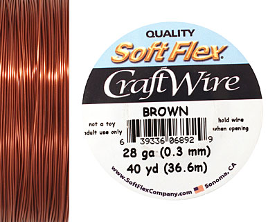 Soft Flex Brown Craft Wire 28 gauge, 40 yards
