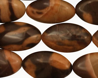 Brown Snakeskin Jasper Horse Eye 20x12mm