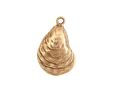 Nunn Design Antique Gold (plated) Oyster Charm 16x25mm