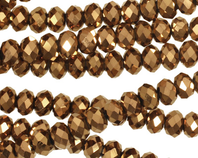 Metallic Antique Bronze Crystal Faceted Rondelle 6mm