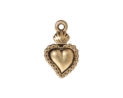 TierraCast Antique Brass (plated) Sacred Heart Milagro 14x22mm