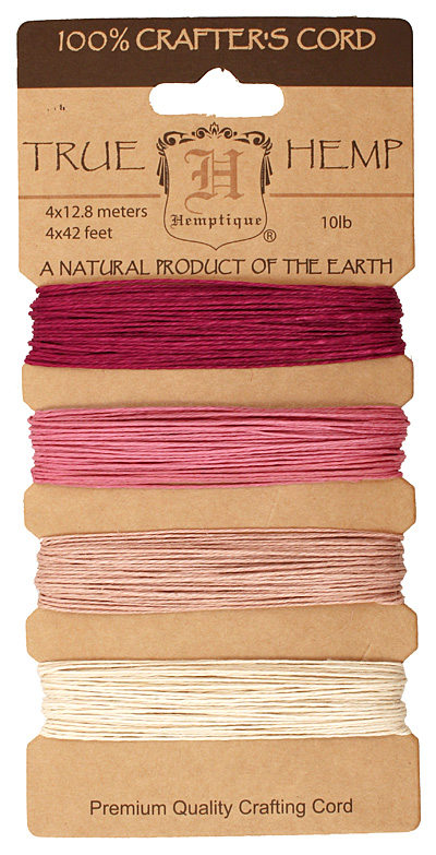 Shades of Ruby Hemp Twine 10 lb, 42 ft x 4 colors