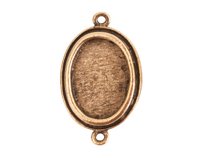Nunn Design Antique Gold (plated) Traditional Oval Bezel Pendant Link 31x19mm