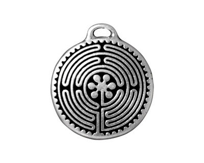TierraCast Antique Silver (plated) Labyrinth Pendant 23x26mm