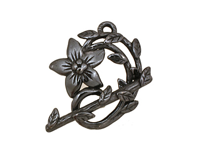 Gunmetal Flower & Vine Toggle Clasp 27x23mm, 28mm bar