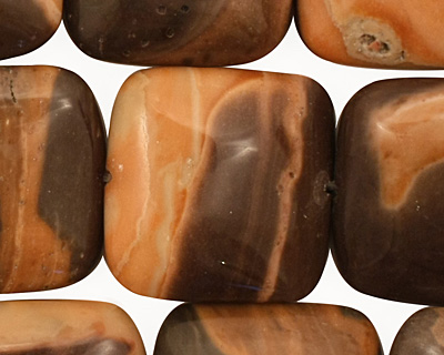 Brown Snakeskin Jasper Puff Square 20mm