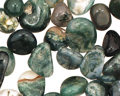 Moss Agate Tumbled Nugget Drop 9-14x11-16mm