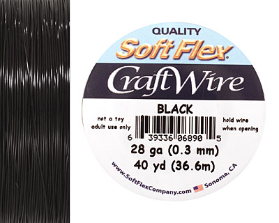 Soft Flex Black Craft Wire 28 gauge, 40 yards