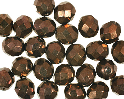 Czech Fire Polished Glass Dark Bronze Round 8mm