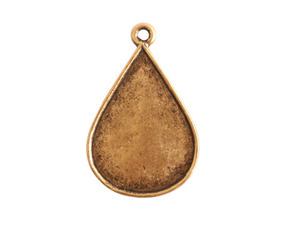 Nunn Design Antique Gold (plated) Ornate Flat Drop Tag 18x28mm