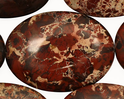 Poppy Jasper Flat Oval 40x30mm