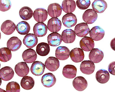 Czech Glass Amethyst AB Round 6mm