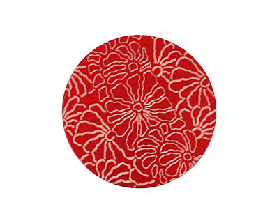 Lillypilly Red Weathered Daisy Anodized Aluminum Disc 25mm, 24 gauge