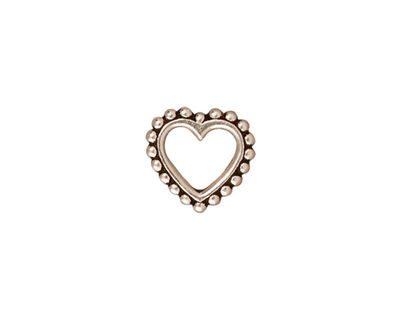 TierraCast Antique Silver (plated) Large Beaded Heart 12mm